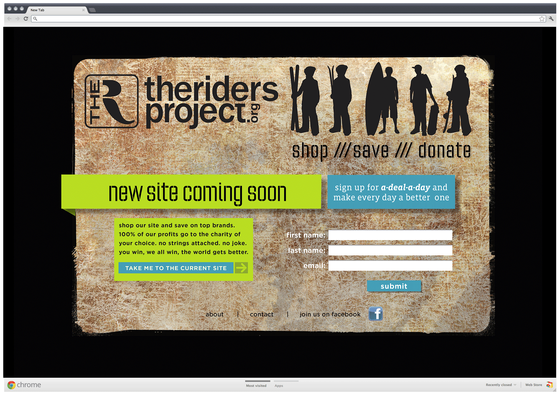 The Riders Project landing page alternate
