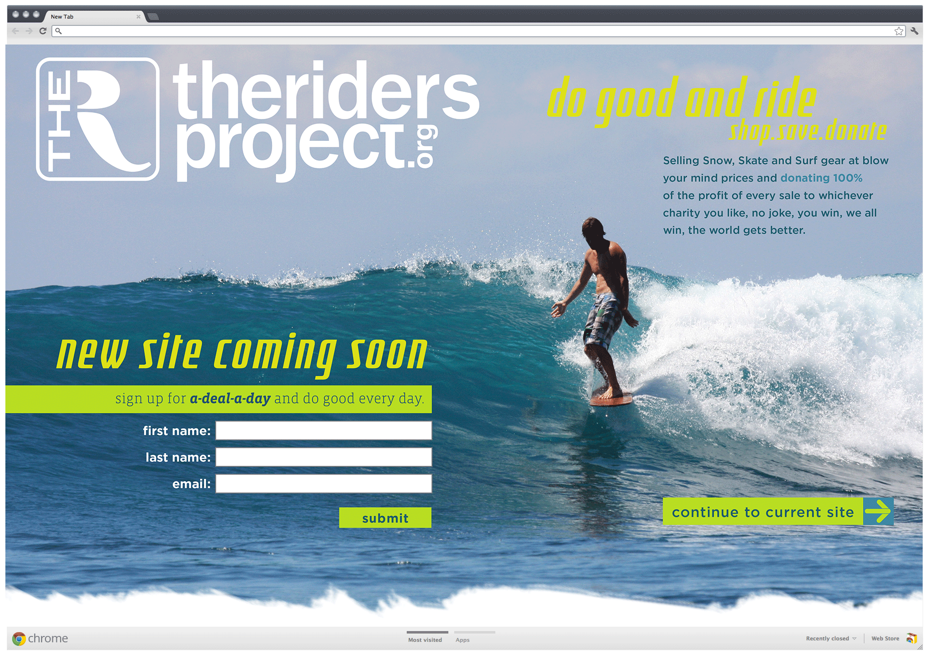 The Riders Project landing page